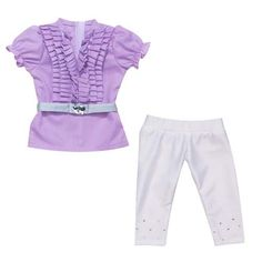 Amazon.com: 18 Inch Doll Clothes 3 Pc. Outfit Fits American Girl Dolls of Lavender Ruffle Doll Blouse, Stretch Lycra Rhinestone Doll Leggings & Belt, (Ruffle Blouse Set): Toys & Games