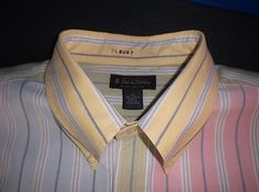 Brooks Brothers Multi-Color Pastels Stripe Supima Cotton Dress Shirt 19.5-37
