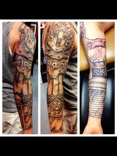 awesome armor sleeve tattoo done by Greg Nicola @ Armored Ink Tattoo in Lake Elsinore CA.
