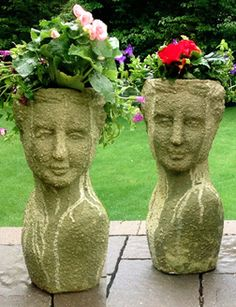 Finally found a website to order head planters from. Face Planters, Flower Planters, Garden Planters, Flower Pots, Plastic Bottle Flowers, Garden Equipment, Garden Crafts, Plant Holders, Dream Garden