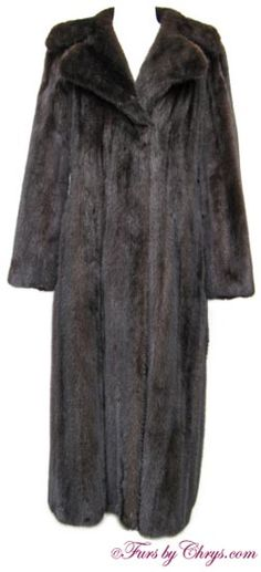 "Blackglama® Ranch Mink Coat #RM740; $1500.00; Very Good Condition; Size range: 4 - 8. This is a gorgeous genuine natural Blackglama® ranch mink fur coat. Blackglama® mink is ""the world's finest natural ranch-raised mink."" It has Blackglama®, Marshall Field & Comapny, and Giorgio Sant'Angelo labels and features a very large notched collar. Blackglama® mink pelts undergo rigorous inspections, and less than 2% of the world's mink bear the name. This ranch mink coat lives up to the name Blackglama®!"