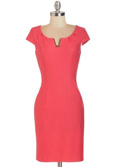Presentation Confidence Dress - Mid-length, Knit, Pink, Solid, Pockets, Party, Work, Sheath, Cap Sleeves