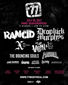 '77 MONTRÉAL | Celebrating 40 years of punk rock music! | July 28, 2017 - Parc Jean-Drapeau Win Tickets, 40th Anniversary, Concert Posters, 40 Years, Rock Music, Punk Rock, Comedians, Movies Online, Vintage Posters