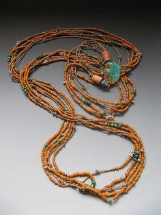 Antique Naga glass beads, Turquoise, antique silver, antique French brass seed beads, turquoise button LuciaAntonelli.com