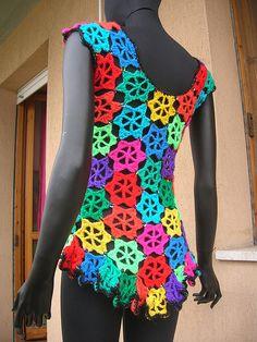 Rainbow Flowers Crochet Vest With Sequins #crochet #vest #waistcoat #rainbow #flower