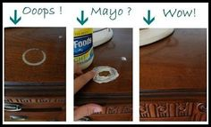 Mayonnaise on liquid or heat spots on wood furniture-- I'm curious to see if this works!