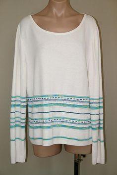 NWT $465 ST JOHN SPORT Santana Knit White Striped Pullover Sweater Top size XL #StJohnSport #ScoopNeck