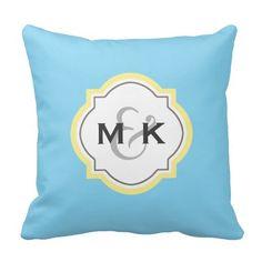 Couples Wedding Gift -Yellow & Blue Monogram - Throw Pillow