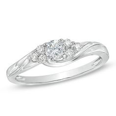 1/3 CT. T.W. Diamond Engagement Ring in 10K White Gold