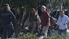Johnny Depp steps out on set at The Spit for Pirates of the Caribbean filming. Photo: Reg