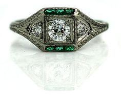 http://rubies.work/0162-ruby-rings/ Art Deco Emerald Ring  Antique Art Deco Emerald by AlistirWoodTait