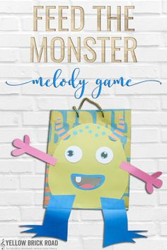 A fun free melodic game to play in elementary music. You create a DIY monster using a gift bag. Then, students sing melodies and the monsters eat them. So cute! width=