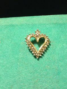 10K Diamond Pendant 1 TCW Champaigne Diamonds White Gold Heart Enhancer Charm Slide WG VINTAGE Italian Italy Estate Necklace Love Bridal on Etsy, $140.00
