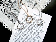 Crown of Thorns Mens Necklace and Matching Print Set - Silver, Gold, or Gunmetal - Thorns Necklace with Original Poem Easter Print Gift Set