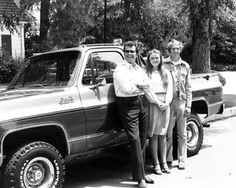 Robert, James Garner and Rocky's 1979 GMC Pickup Truck.  Photo by Vista Group.