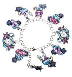 Alice In Wonderland Tattoo Charm Bracelet From Punky Pins : TruffleShuffle.com