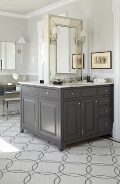 loving this back-to-back vanity, but floated in the middle of the room....?