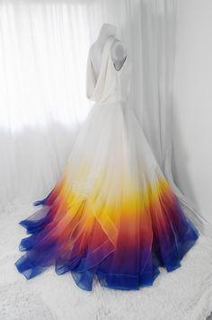Bridal Gowns Colored by Taylor Ann Art - Gallery Dip Dye Wedding Dress, Rainbow Wedding Dress, Colored Wedding Dresses, Pretty Dresses, Beautiful Dresses, Bridal Gowns, Wedding Gowns, Fantasy Gowns, Bridesmaid Dresses
