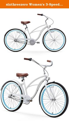 sixthreezero Women's 3-Speed 26-Inch Beach Cruiser Bicycle, BE White/Blue. One of the most popular women's 26-inch cruisers and an all-time best selling sixthreezero model is the BE Woman 3-speed white/blue bike. This is a standard 17-inch women's cruiser frame, keeping it classic and stylish with the right color combinations. This one is a sweet looking white bike, accented beautifully by the baby blue rims within the white wall tires. More than that, the brown saddle and grips come…