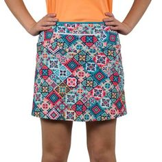 "This golf skort is sure to match lots of women's golf tops! Plus it has anti-ride shorts built-in and two 6x6"" leg pockets, as well as a 12"" zippered waistband."