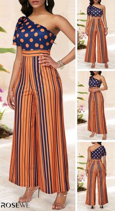 Upgrade your wardrobe, choose one-shoulder orange printed a Chic Outfits, Trendy Outfits, Dress Outfits, Latest African Fashion Dresses, African Print Fashion, African Attire, African Dress, Fashion Wear, Fashion Outfits