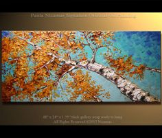 "Original Birch Tree Painting Oil Painting Silver Birch Palette Knife Landscape from Nizamas 48"" x 24"" Ready to Hang"