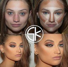 Make up Tutorial Day Makeup, Makeup Goals, Makeup Tips, Beauty Makeup, Makeup Ideas, Contour Makeup, Contouring And Highlighting, Contouring Guide, Makeup Pictorial