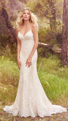 maggie sottero spring 2017 bridal spagetti strap sweetheart neckline heavily embellished bodice elegant romantic sheath wedding dress chapel train (nola) mv