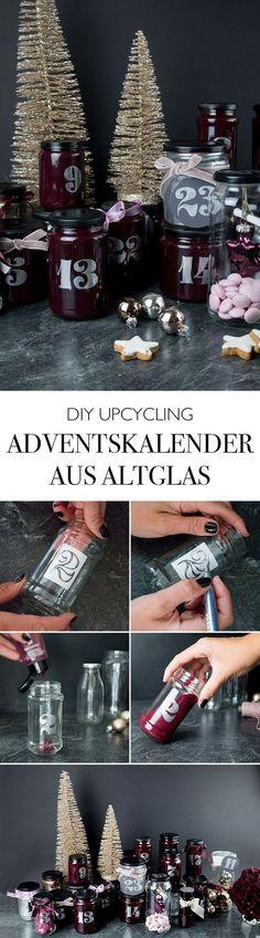 Adventskalender aus Altglas basteln - Weihnachten DIY Deko Blog