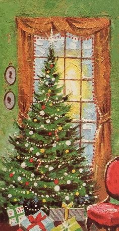 Vintage Decorated Tree by Window Christmas Greeting Card Pretty Christmas Trees, Christmas Time Is Here, Old Christmas, Old Fashioned Christmas, Christmas Scenes, Retro Christmas, Christmas Greeting Cards, Christmas Wishes, Christmas Greetings