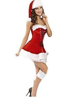 Sexy Santa Clause Costume Dress Hat Boot Role Play Cosplay Corset Gifts For Her #SexySantaClauseCostume #Dress #Christmas
