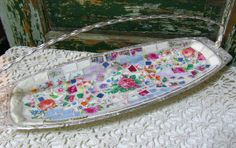 Mosaic Silver Footed Tray with Vintage China via Etsy