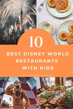 Visiting Disney World and are unsure where to eat? We've got you covered with 10 of the best Disney World restaurants for kids! Disney Vacations, Disney Trips, Disney Travel, Disney Parks, Walt Disney, Best Disney World Restaurants, Affordable Family Vacations, Kid Friendly Restaurants, Travel With Kids