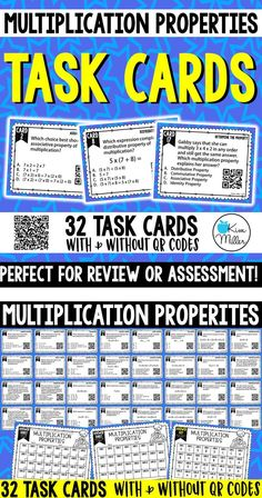 Multiplication Properties Task Cards: Review, Test Prep, Scoot Game, Math Centers