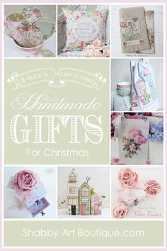8 quick and easy handmade gifts for Christmas from Shabby Art Boutique. Click for tutorials or PIN for later.
