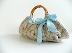 SALE OFF 15 NzLbags Knitted Handbag  Beige Bag Nr0120 by NzLbags, $65.00