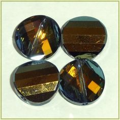 2 14mm Twist Crystal Tabac Swarovski Crystals Gold Green Yellow Olive Multi  $6.98  at CDVDMart on Bonanza.