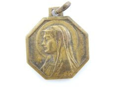 Vintage Virgin Mary - Our Lady of Lourdes Catholic Medal - Bronze Religious Charm by LuxMeaChristus on Etsy