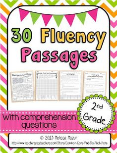 2nd Grade Reading Fluency Passages - 15 Fiction and 15 Nonfiction passages with comprehension questions, graphing sheets, and a parent letter.  Leveled with the 2012 CCSS Lexile Level.  $