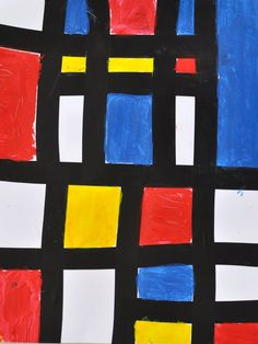 Mondrian by Kids: These incredibly simple paintings in the style of Dutch Painter Piet Mondrian are a great way to get kids involved in learning about abstract art and the beauty of simple geometric images.  The creation of the series of squares and rectangles is surprisingly satisfying and the creative process very rewarding.  This project is ideal for elementary age kids and even older preschoolers can easily have a go.  Older children may prefer to create their black outlines using rulers…