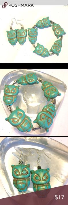 Turquoise Owl Earring and Bracelet Set Beautiful turquoise ceramic jewelry set. Owl beads are about 1 inch in length. Bracelet is made on sturdy stretch cord. One size fits most.                                                                        Owls are magical and healing. In greek mythology the owl was a symbol of Athena, goddess of wisdom and strategy.  In native american culture it is emblematic of a deep connection with wisdom and intuitive knowledge. Lotus Designs Jewelry Earrings
