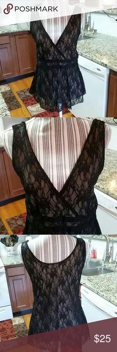 Black lace shirt Beautiful black lace over tan cotton shirt w V neck Liz Claiborne Tops Blouses