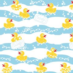 Rubber Duck Bathroom Fabric - Duck Soap By Eclectic House - Duck Baby Nursery Decor Cotton Fabric By The Yard With Spoonflower Cotton Twill Fabric, Double Gauze Fabric, Rubber Duck Bathroom, Paper Animals, Bird Design, Fabric Swatches, Doll Accessories, Custom Fabric, Spoonflower