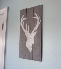 Grey and White Distressed Deer Head Silhouette Wood Sign - Art - Home Decor. $35.00, via Etsy.