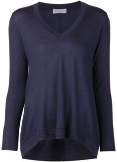 52d920bf74d0 Blue cashmere silk blend basic sweater from brunello cucinelli featuring a  v-neck, long sleeves and a ribbed hem and cuffs.