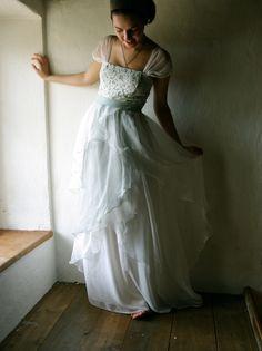 Wedding Dress - Bridal Gown ivory and aqua grey silk chiffon floor length couture handmade gown hippie boho beach wedding. €550.00, via Etsy.