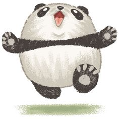 How adorable would that look in baby's room? Cute running Panda Bear wants to hug you Throw Pillow by Toru Sanogawa Fat Panda, Niedlicher Panda, Panda Art, Panda Love, Cartoon Panda, Panda Illustration, Happy Pug, Happy Panda, Panda Kawaii