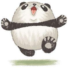 How adorable would that look in baby's room? Cute running Panda Bear wants to hug you Throw Pillow by Toru Sanogawa Happy Pug, Happy Panda, Panda Love, Panda Kawaii, Fat Panda, Panda Illustration, Panda Drawing, Panda Art, Panda Panda