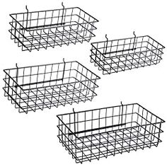 Pegboard Baskets Set of 4 Black - Hooks to or Hole Peg Board - Square Style Wire Shelf Baskets - Organize Tools, Workbench, Accessories, Garage Storage - Wall Organizer Attachments Metal Pegboard, Pegboard Organization, Basket Organization, Basket Shelves, Wire Baskets, Pegboard Craft Room, Organizing Ideas, Kitchen Organization, Living Room