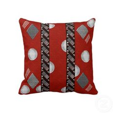 """The original digital artwork by Leslie Sigal Javorek on the front of this great 20""""x20"""" pillow is a fun, Art Deco inspired abstract design in tango red, black, white and gray designed to go great together with HoMeArts' """"Come Together"""" pillow! Lovingly hand-made by single mothers who are striving to climb out of poverty with dignity. Coordinating products for your home @: http://www.zazzle.com/homearts/art+deco+gifts?rf=238155573613991097&tc=pnt"""
